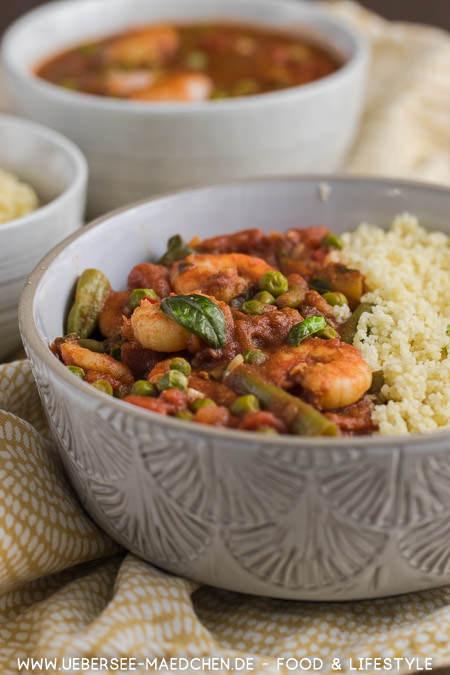 Fertig nach 15 Minuten in nur einem Topf: Orientalisches Couscous mit Bohnen Erbsen Garnelen Zimt Rezept von ÜberSee-Mädchen Foodblog vom Bodensee