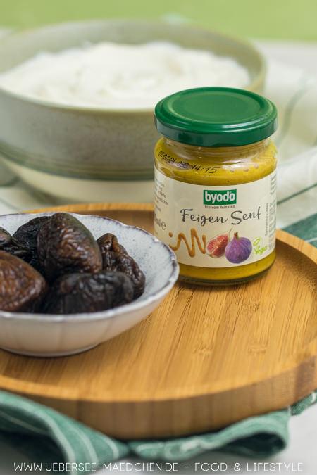 Drei Zutaten für lecker Aufstrich mit Byodo: Feigen-Senf, Feigen und Frischkäsecreme