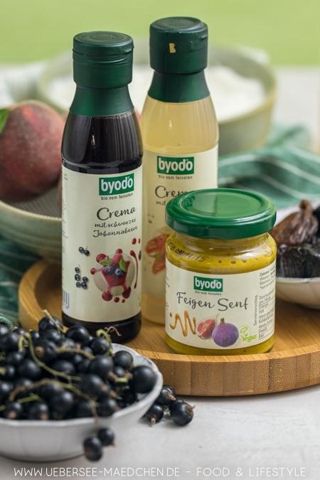 Aus drei Byodo-Zutaten werden leckere Aufstriche Feige-Senf, Zitronencreme und Johannisbeer-Chutney