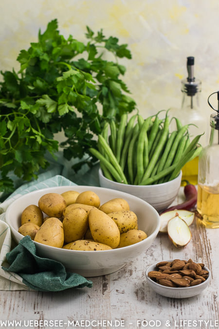 Zutaten für portugiesischen Kartoffelsalat mit Bohnen