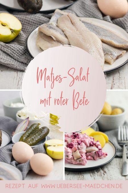 Matjes-Salat mit roter Bete ist schnell einfach gemacht Rezept für kalte Küche ohne Mayo von ÜberSee-Mädchen Foodblog vom Bodensee