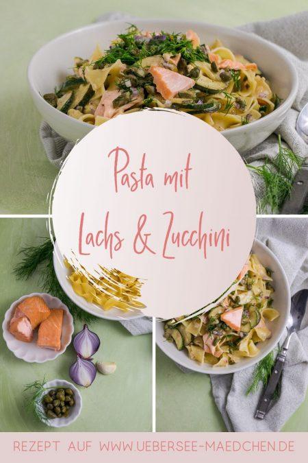 Schnelles Rezept für den Feierabend: Lachsnudeln mal anders mit Zucchini und einer leckeren Mischung aus Kapern und Dill als Topping.