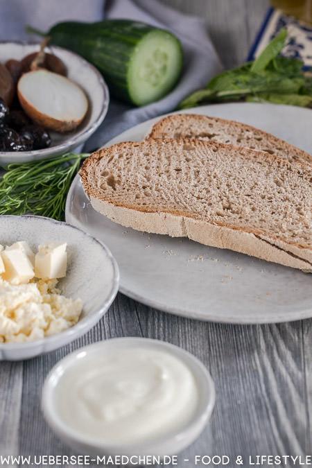 Zutaten für griechischen Käsetoast nach Jamie Oliver mit Tsatsiki