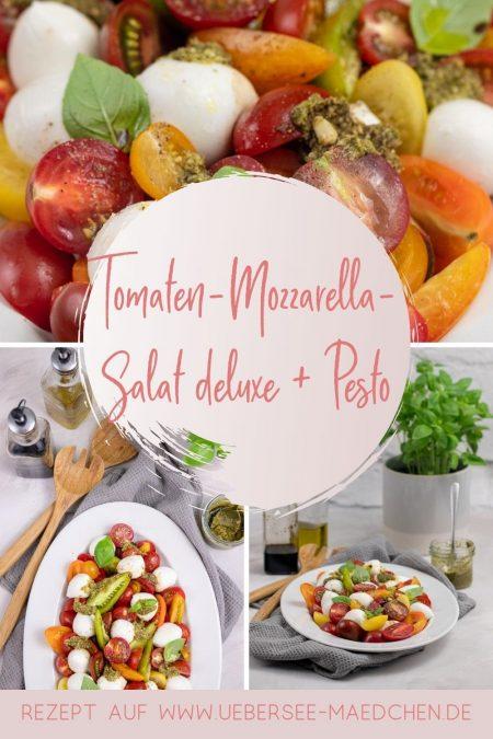 Italienischer Klassiker noch besser: Tomaten-Mozzarella-Salat mit grünem Pesto, ein Rezept von ÜberSee-Mädchen der Foodblog vom Bodensee Konstanz