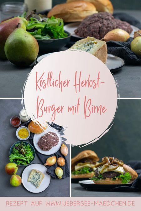 Burger mit Gorgonzola und Birne kombinieren salzig und süß nach einem einfachen Rezept von ÜberSee-Mädchen Foodblog vom Bodensee