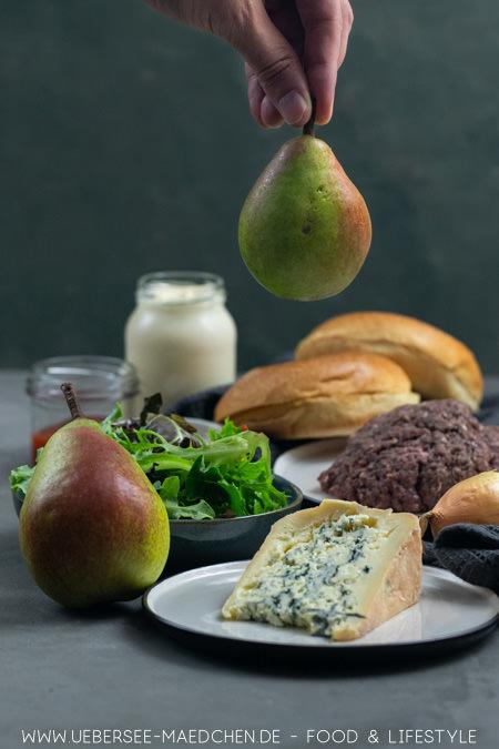 Birne macht den Burger mit Gorgonzola schön fruchtig Rezept von ÜberSee-Mädchen Foodblog vom Bodensee
