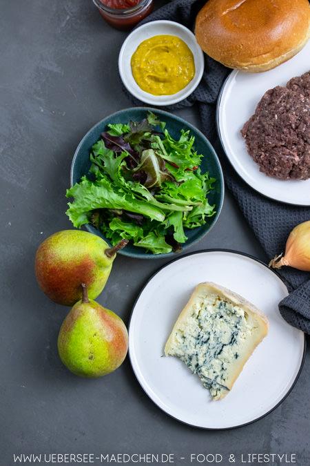 Zutaten für Birnen-Burger mit Gorgonzola Blauschimmelkäse