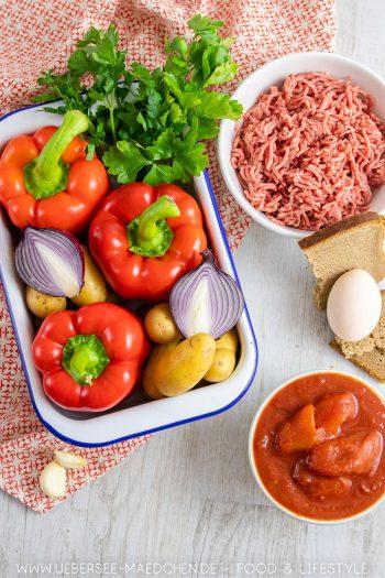 Zutaten für gefüllte Paprika nach Familienrezept