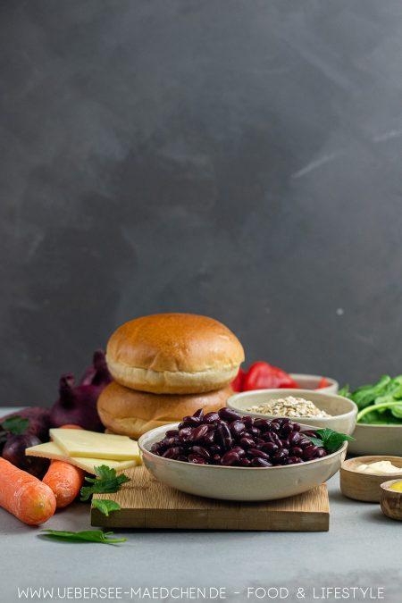 Zutaten für Veggie-Burger mit Kidneybohnen-Pattie