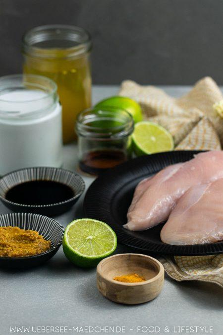 Alle Zutaten für eine einfache cremige asiatische Suppe
