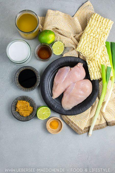 Zutaten für Asia-Suppe mit Hühnchen Kokosmilch Tikka Masala super einfach