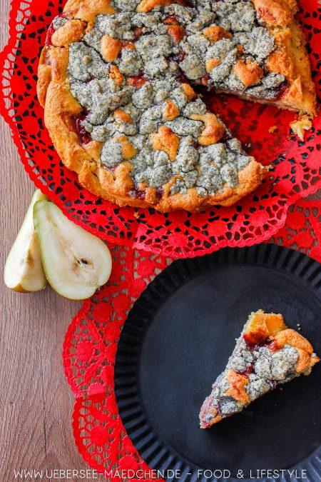 Springform mit Birnenkuchen Preiselbeeren Mohnstreuseln Rezept