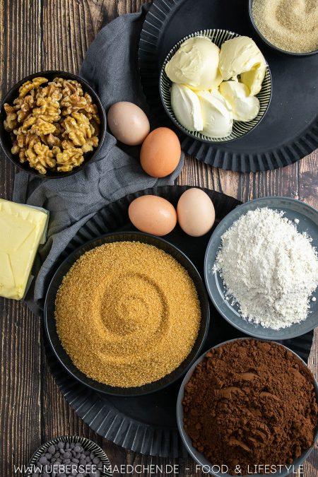 Alle Zutaten für Brownies mit Salzkaramell und Walnüssen Rezept