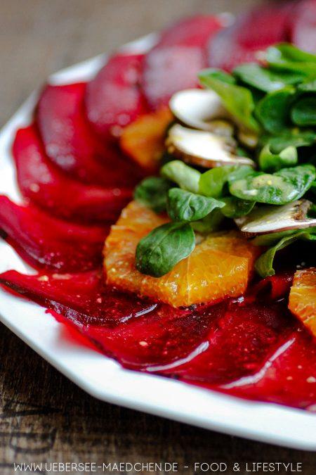 Rote-Bete-Carpaccio mit Salat Orangen leckere Vorspeise Rezept von ÜberSee-Mädchen Foodblog vom Bodensee