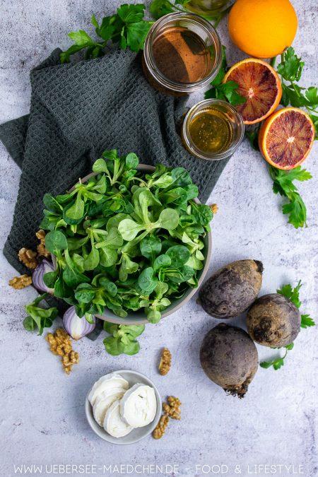 Zutaten für Rote-Bete-Tatar mit Ziegenkäse Feldsalat