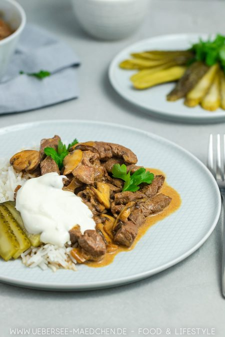 Boeuf Stroganoff Originalrezept mit Reis Rindfleischstreifen Sahnesauce von ÜberSee-Mädchen Foodblog vom Bodensee