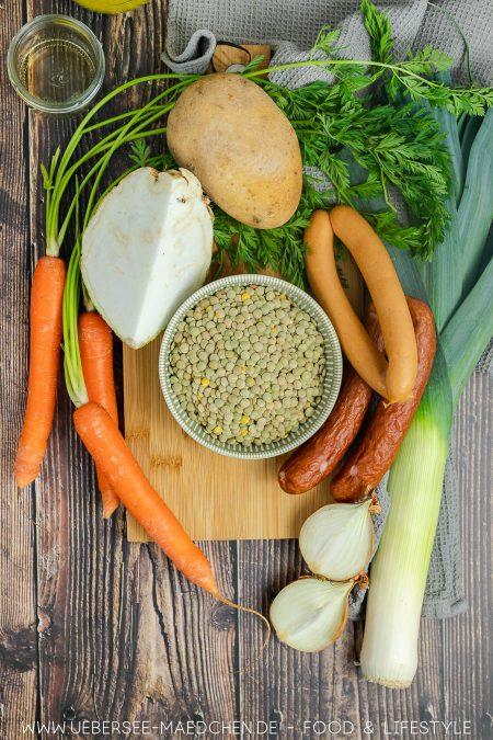 Zutaten für Linseneintopf mit Suppengrün Würstchen Rezept