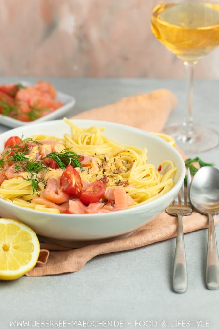 Spaghetti mit Sahnesauce und Lachs Rezept