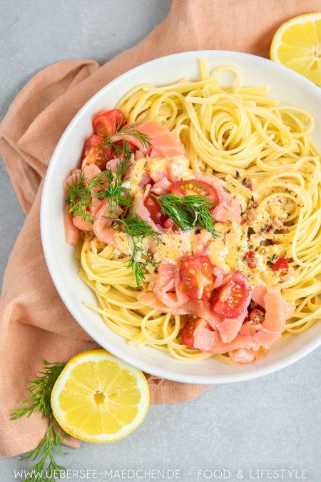 Pasta mit Lachs-Sahnesauce mit Räucherlachs Rezept von ÜberSee-Mädchen Foodblog vom Bodensee