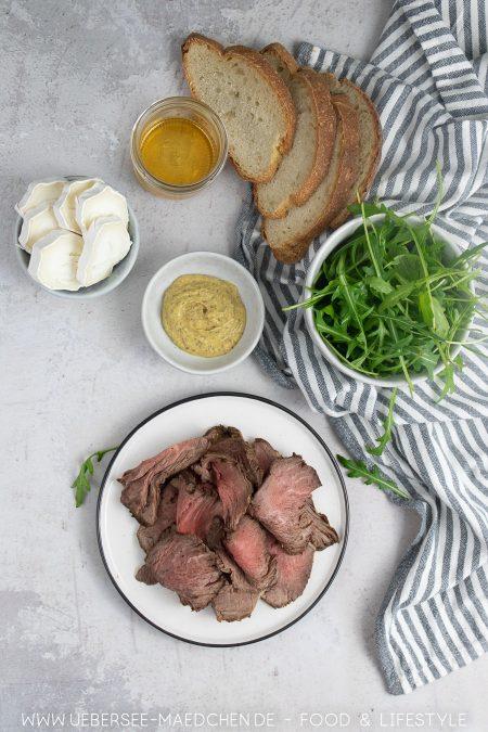 Zutaten für Roastbeef-Sandwich von oben
