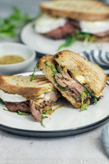 Roastbeef-Sandwich mit Ziegenkäse Rucola Rezept