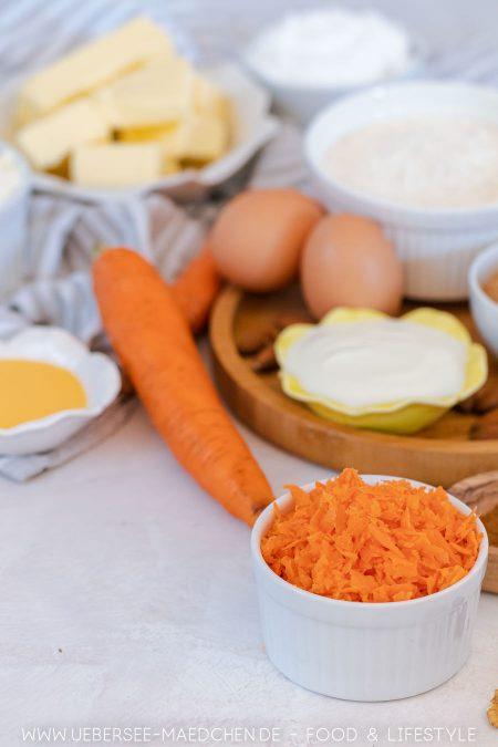 Zutaten für Karotten-Muffins mit Frosting