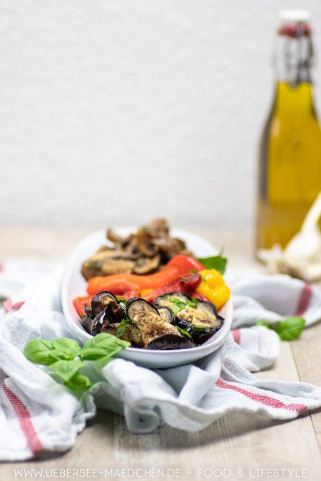 Antipasti-Rezept für gegrillte Paprika marinierte Aubergine Balsamico-Pilze von ÜberSee-Mädchen Foodblog vom Bodensee