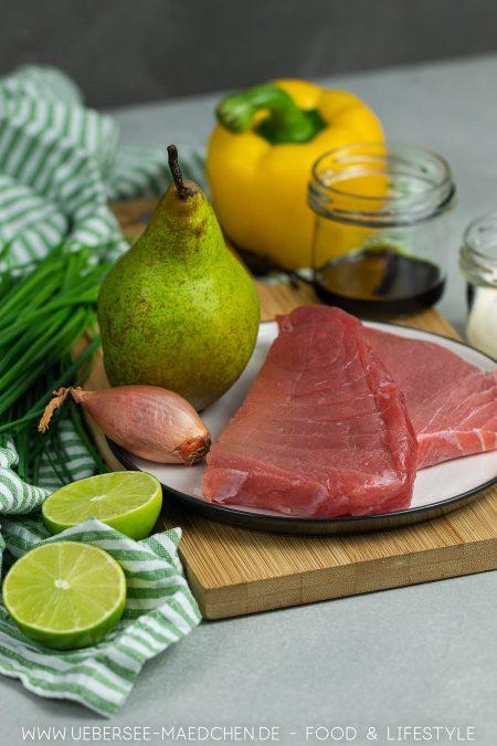 Zutaten für Thunfischtatar Rezept für einfaches Fischtatar als Vorspeise