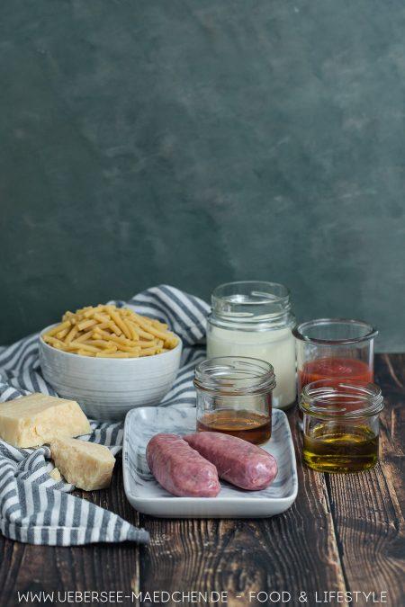 Zutaten für betrunkene Pasta mit Salsiccia Sahnesauce