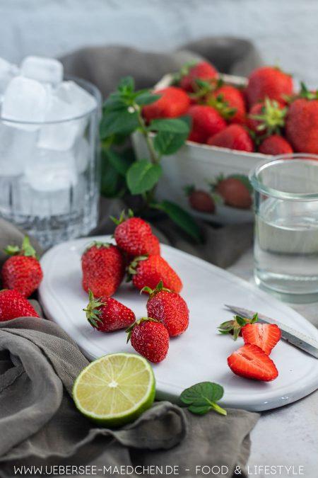 Zutaten für einen Erdbeer-Daiquiri