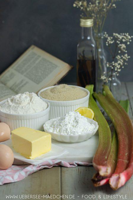 Zutaten für Rhabarberkuchen mit Baiser
