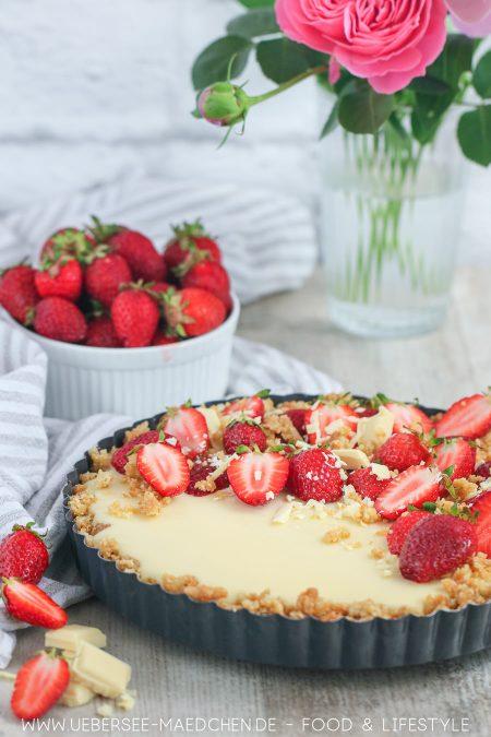 Weiße Schokoladentarte mit Mascarpone Erdbeeren ohne Backen