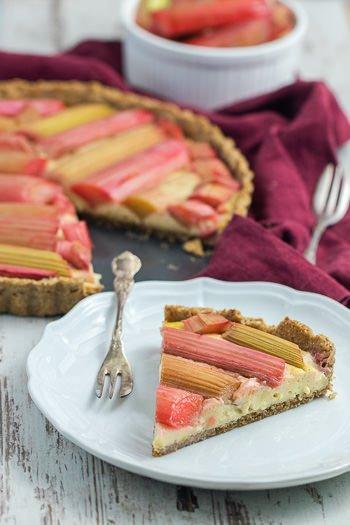 Rhabarbertarte mit Vanillecreme schönes Muster Rezept von ÜberSee-Mädchen Foodblog vom Bodensee