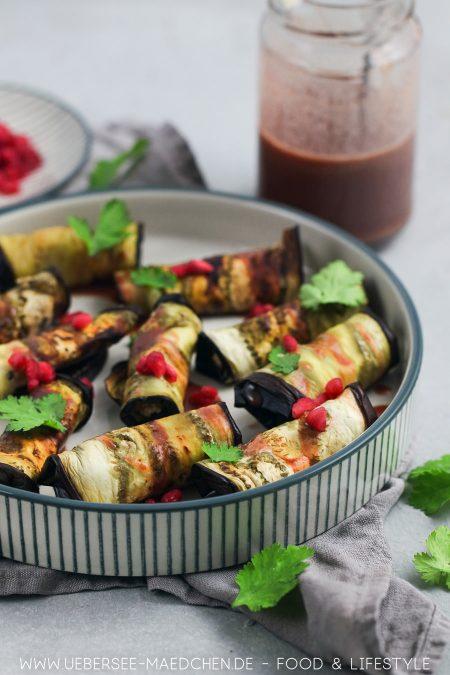 Auberginenröllchen mit Nussfüllung Walnüsse vegan Rezept von ÜberSee-Mädchen Foodblog vom Bodensee
